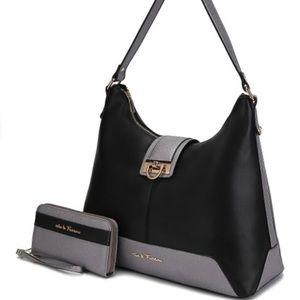 Handbags - Black and Pewter Amilla Hobo and Wallet